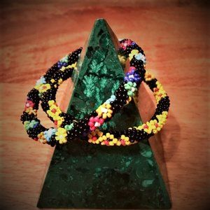 NWOT Hand Made Glass Bead Floral Bangle Bracelets